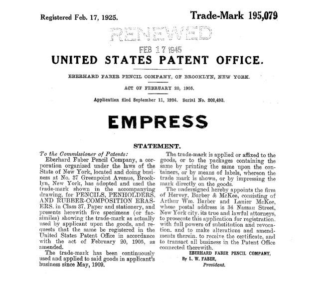 Faber Empress patent